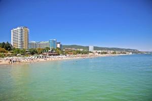 Panoramic view on Varna beach in Bulgaria.